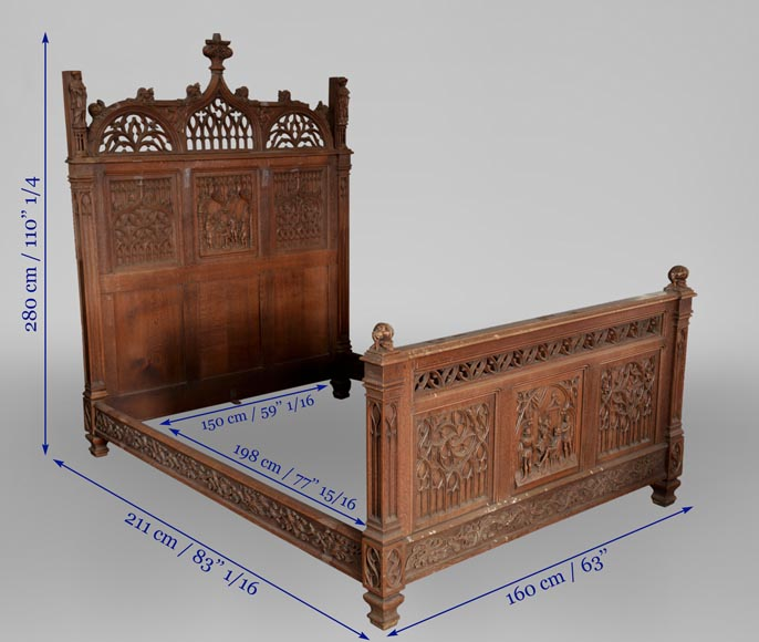 Neo-Gothic style bedroom furniture set in carved oak wood-16