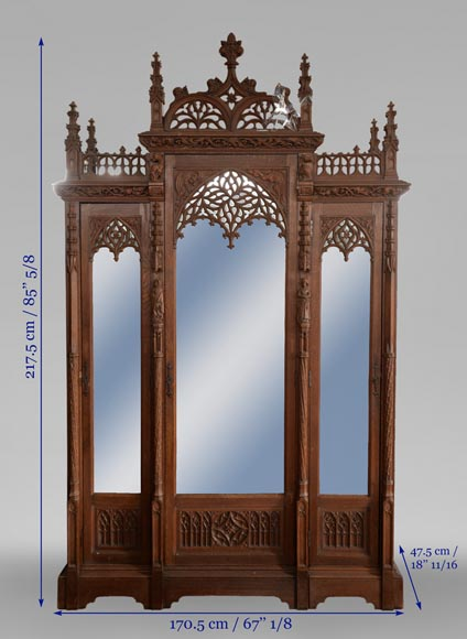 Neo-Gothic style bedroom furniture set in carved oak wood-17