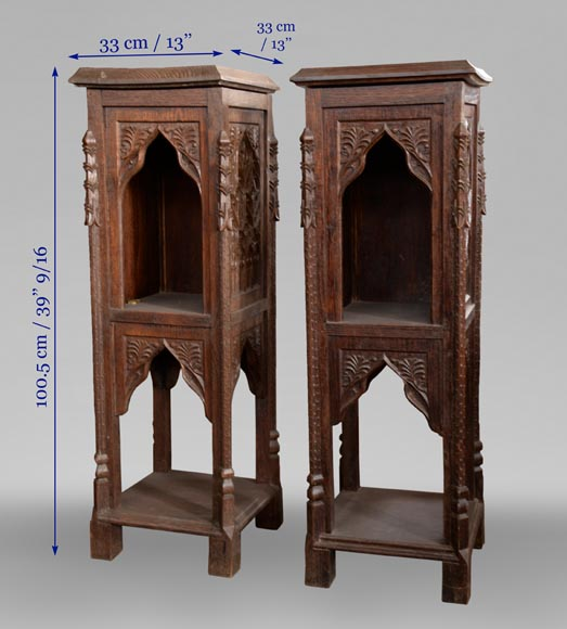 Neo-Gothic style bedroom furniture set in carved oak wood-18