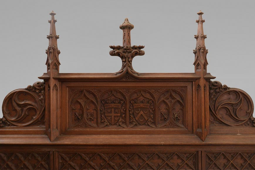 Set of bedroom furniture in carved oak, Neo-Gothic style-6