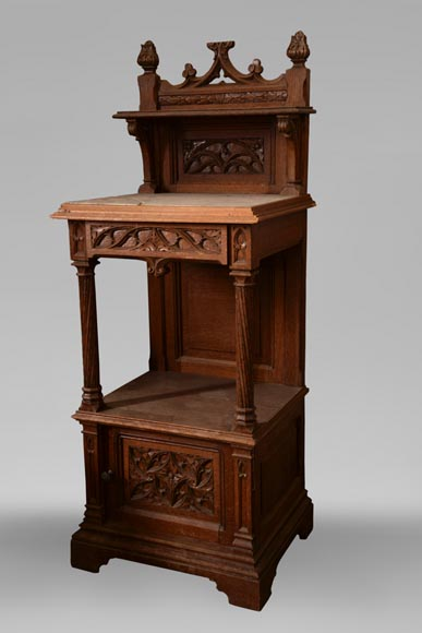 Set of bedroom furniture in carved oak, Neo-Gothic style-8