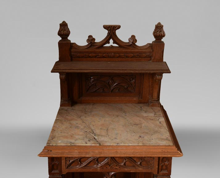 Set of bedroom furniture in carved oak, Neo-Gothic style-9