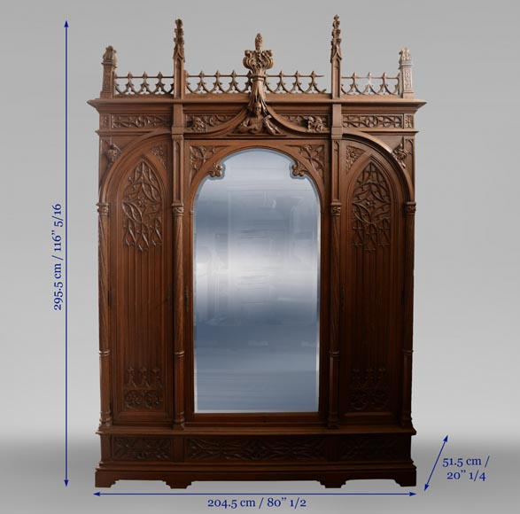 Set of bedroom furniture in carved oak, Neo-Gothic style-11