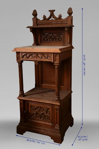 Set of bedroom furniture in carved oak, Neo-Gothic style-13
