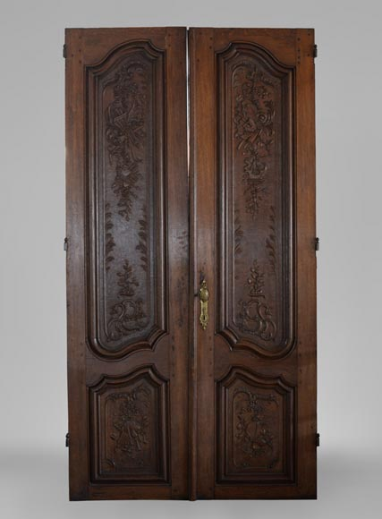 Double door in carved oak in Napoleon III style-0