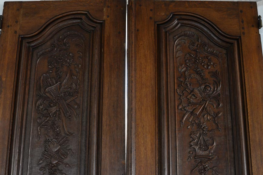 Double door in carved oak in Napoleon III style-1