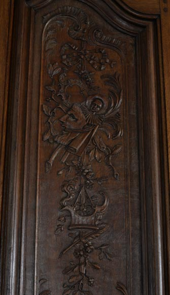 Double door in carved oak in Napoleon III style-2