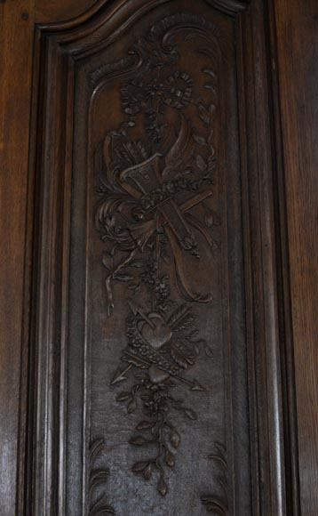 Double door in carved oak in Napoleon III style-3