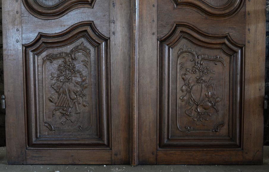 Double door in carved oak in Napoleon III style-7