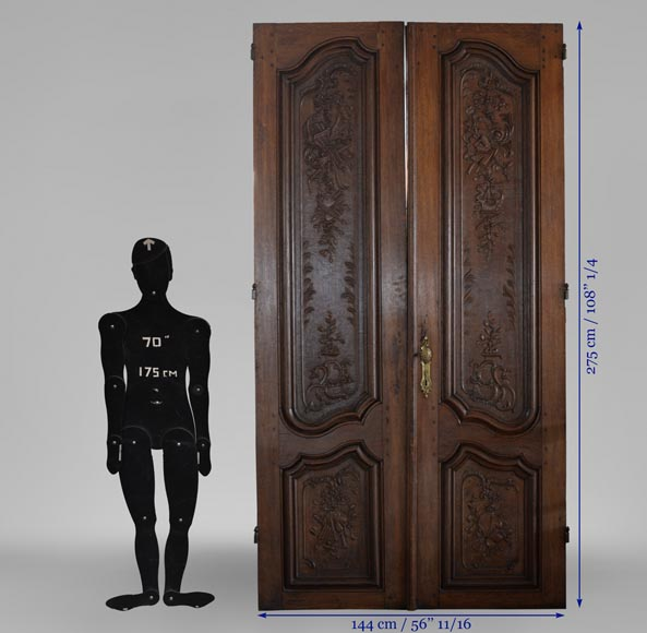 Double door in carved oak in Napoleon III style-10