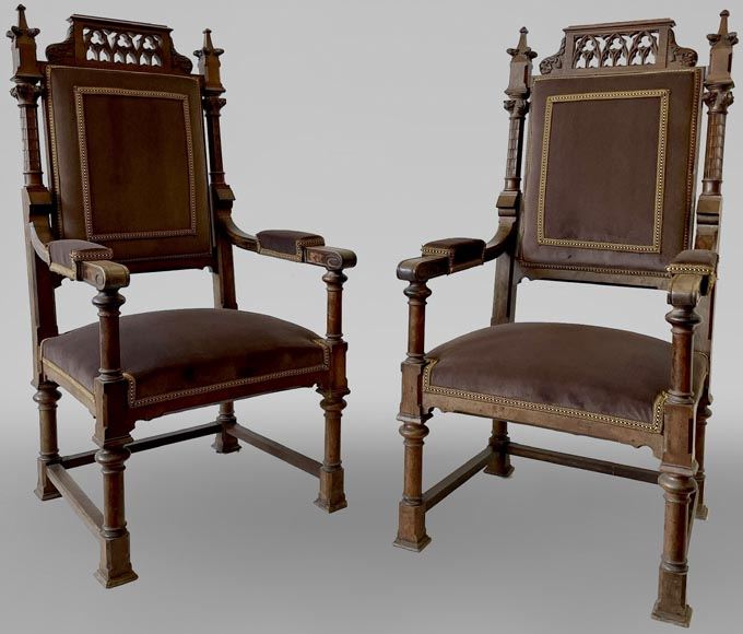 Pair of neo-gothic style armchairs in walnut-0