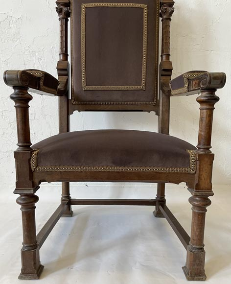 Pair of neo-gothic style armchairs in walnut-3