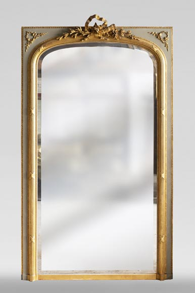 Antique Louis XVI style trumeau, with gilded decoration and bevelled mirror-0