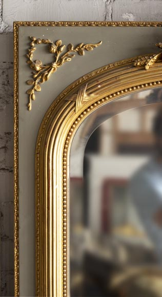 Antique Louis XVI style trumeau, with gilded decoration and bevelled mirror-3