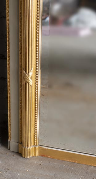 Antique Louis XVI style trumeau, with gilded decoration and bevelled mirror-5