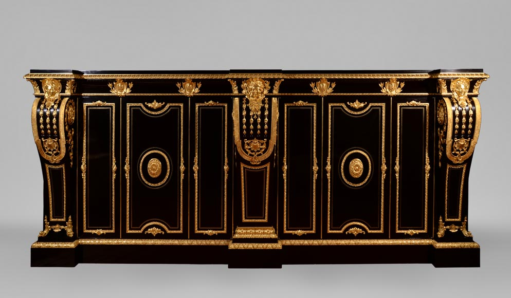 Alexandre BELLANGÉ - Important cupboard, ebony veneer and gilded bronze, coming from the Chateau of Dampierre-0
