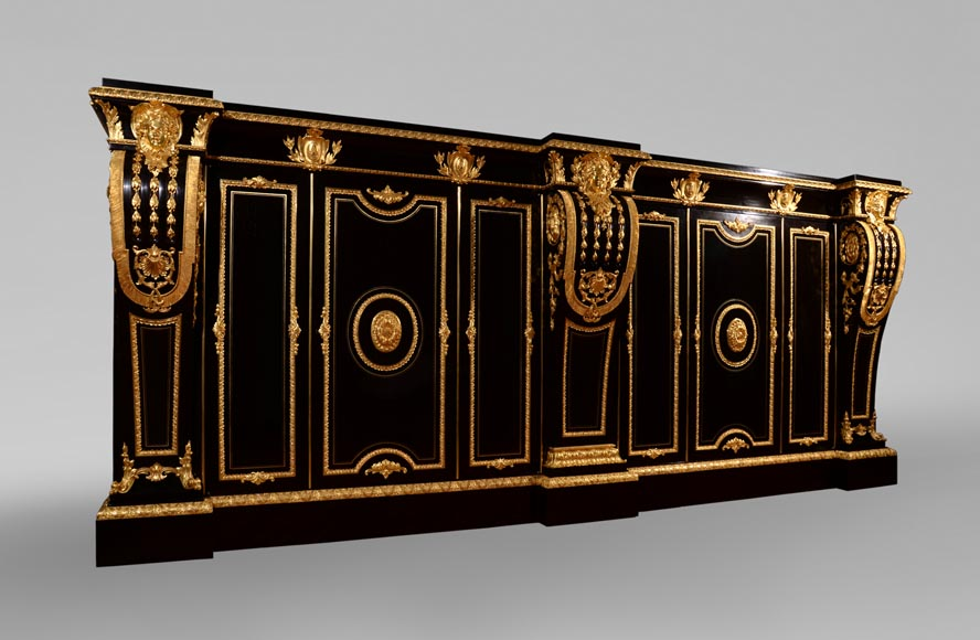 Alexandre BELLANGÉ - Important cupboard, ebony veneer and gilded bronze, coming from the Chateau of Dampierre-1