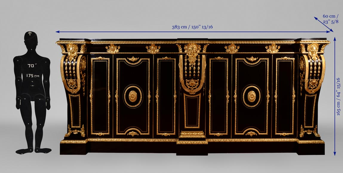 Alexandre BELLANGÉ - Important cupboard, ebony veneer and gilded bronze, coming from the Chateau of Dampierre-21
