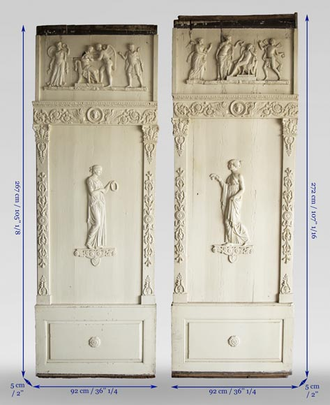 Pair of antique Empire style wood panels-9