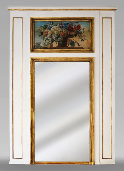 Antique trumeau with oil on canvas representing a bunch of flowers-0