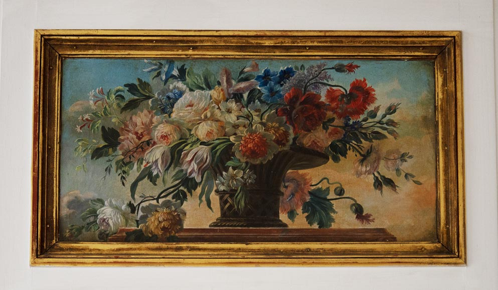 Antique trumeau with oil on canvas representing a bunch of flowers-1