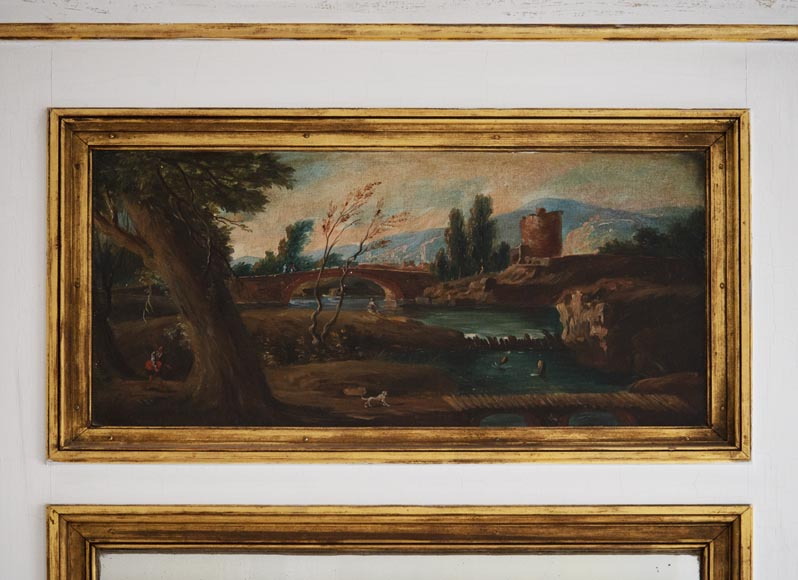 Antique trumeau decorated with an oil on canvas representing a lively landscape-1