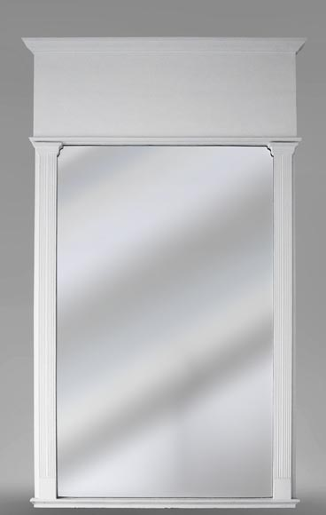 Antique Art Deco style Trumeau, painted white-0