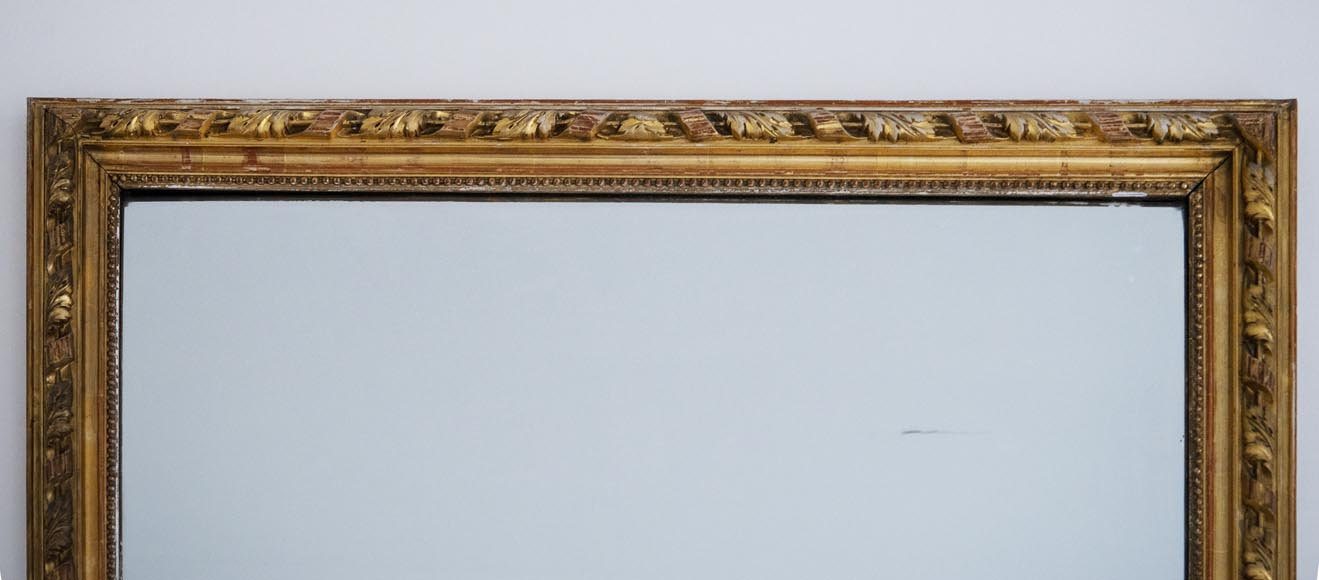 Antique gilded Trumeau, in the Louis XVI style, decorated with pearls and ribbons-1