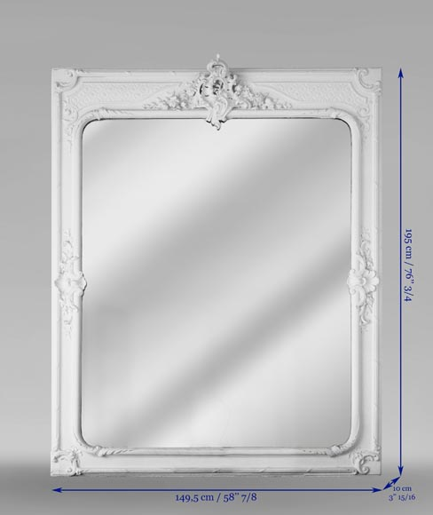 Antique Napoleon III Trumeau, richly carved, with a bevelled mirror-6