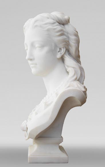 Eugène Antoine AIZELIN (1821-1902) - Woman's bust with necklace, in Carrara marble-3