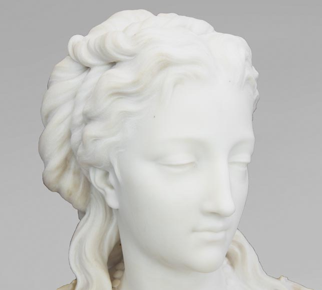 Eugène Antoine AIZELIN (1821-1902) - Woman's bust with necklace, in Carrara marble-4