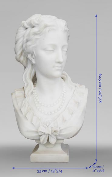 Eugène Antoine AIZELIN (1821-1902) - Woman's bust with necklace, in Carrara marble-10