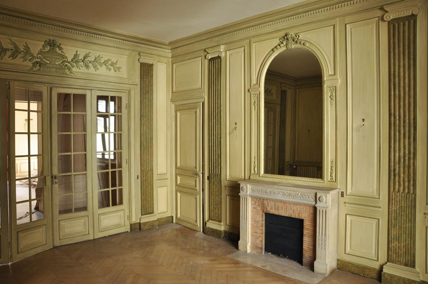 Beautiful Louis XVI style paneled room with its stone fireplace and a marine scene, oil on canvas-0