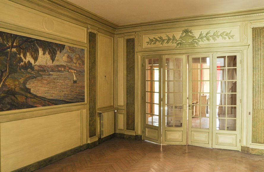 Beautiful Louis XVI style paneled room with its stone fireplace and a marine scene, oil on canvas-1