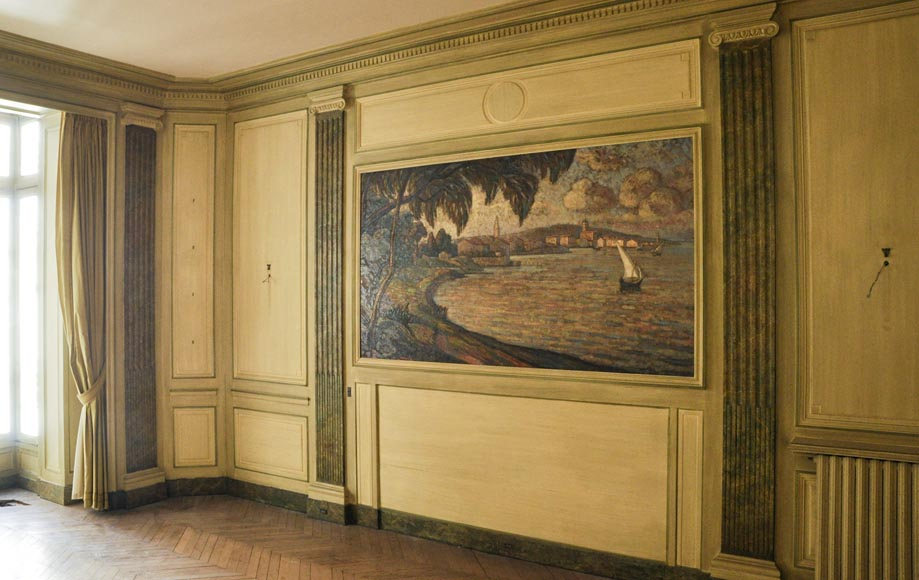 Beautiful Louis XVI style paneled room with its stone fireplace and a marine scene, oil on canvas-2