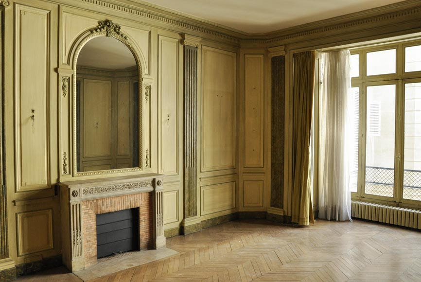 Beautiful Louis XVI style paneled room with its stone fireplace and a marine scene, oil on canvas-3
