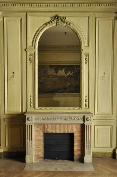 Beautiful Louis XVI style paneled room with its stone fireplace and a marine scene, oil on canvas-5