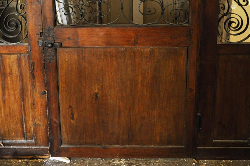 Large mahogany door and wrought iron arabesques-4