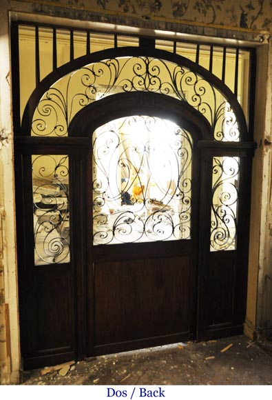 Large mahogany door and wrought iron arabesques-6