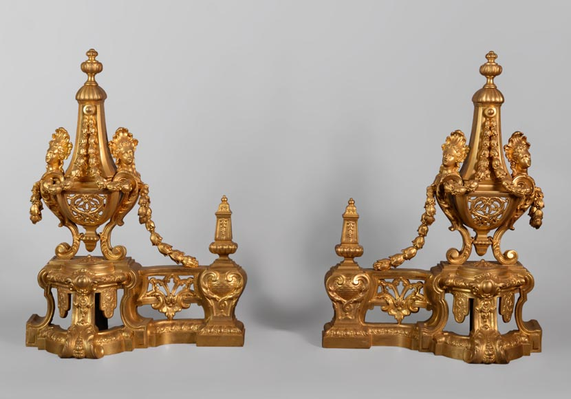 Beautiful antique Napoleon III style pair of andirons with espagnolette decor in gilded bronze-0