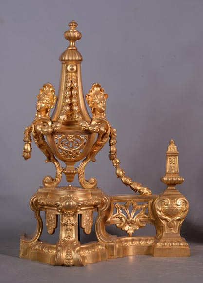 Beautiful antique Napoleon III style pair of andirons with espagnolette decor in gilded bronze-1