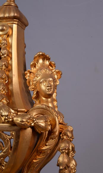 Beautiful antique Napoleon III style pair of andirons with espagnolette decor in gilded bronze-3