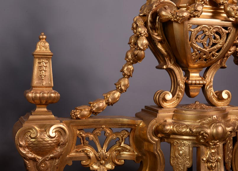 Beautiful antique Napoleon III style pair of andirons with espagnolette decor in gilded bronze-6