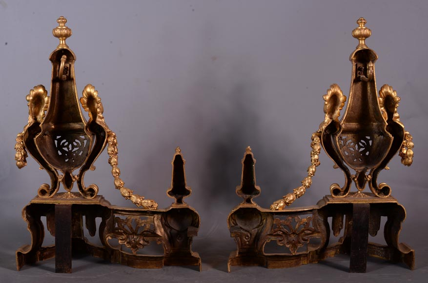 Beautiful antique Napoleon III style pair of andirons with espagnolette decor in gilded bronze-7