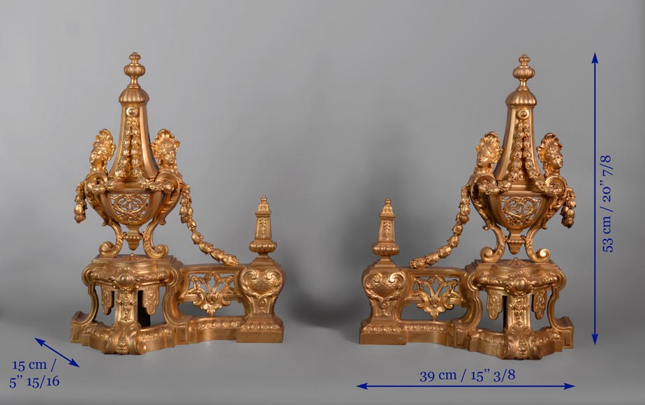 Beautiful antique Napoleon III style pair of andirons with espagnolette decor in gilded bronze-8