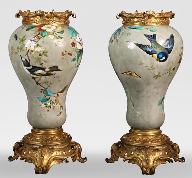 Théodore DECK (1823-1891) - Pair of polychrome glazed earthenware vases-0
