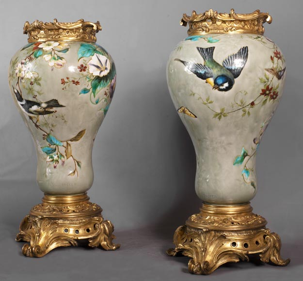 Théodore DECK (1823-1891) - Pair of polychrome glazed earthenware vases-1