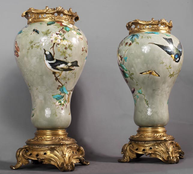 Théodore DECK (1823-1891) - Pair of polychrome glazed earthenware vases-2