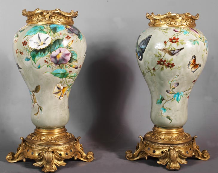Théodore DECK (1823-1891) - Pair of polychrome glazed earthenware vases-3