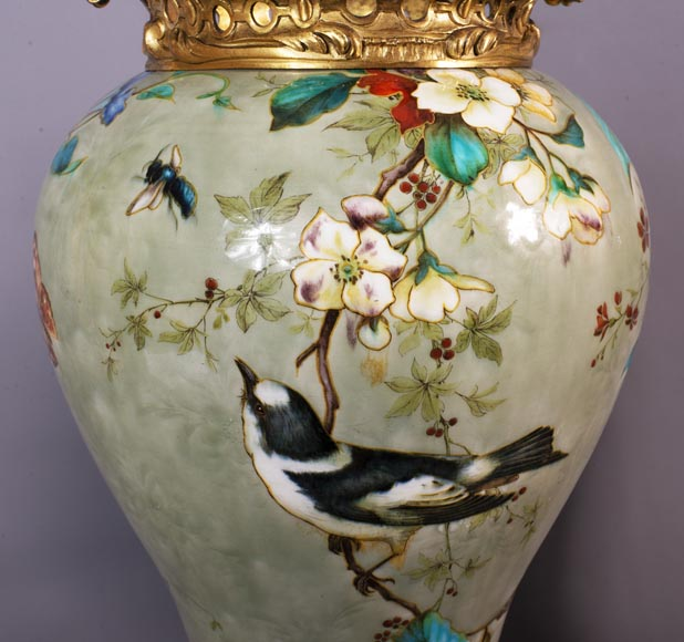 Théodore DECK (1823-1891) - Pair of polychrome glazed earthenware vases-5